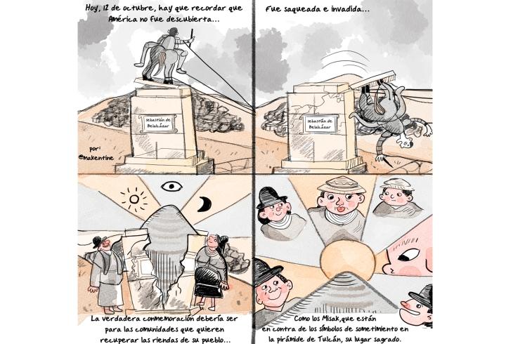 Representación en cómic de la caída de Sebastián Belalcázar