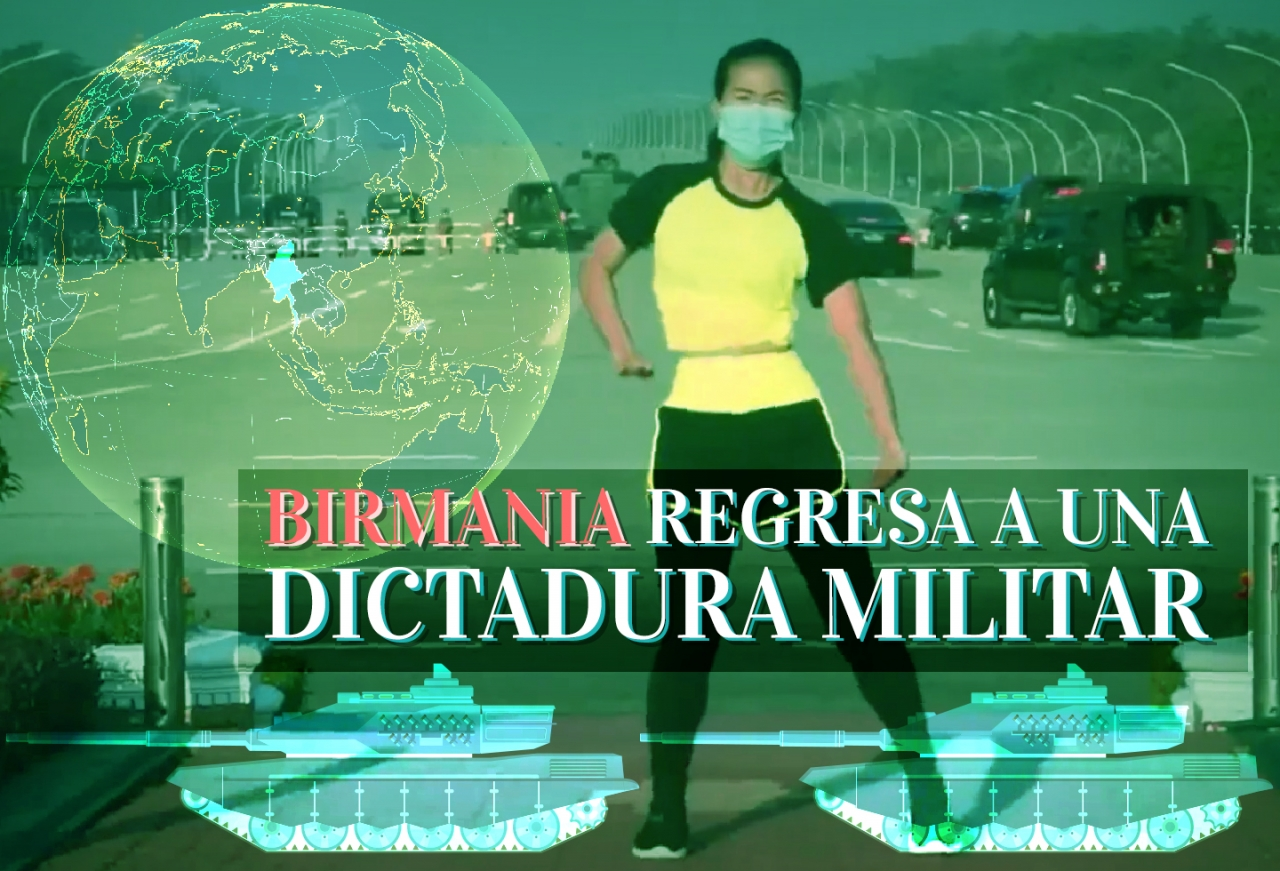 Birmania regresa a una dictadura militar. Collage por|||