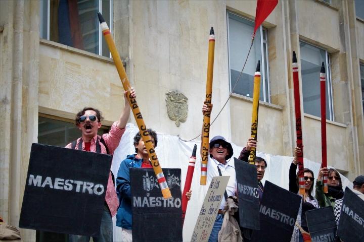 Así fue la jornada de manifestaciones del paro de Fecode en el centro de Bogotá