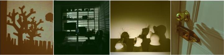 Sombra árbol artificial, Cuarto de estudio, tecnología el opuesto a la naturaleza, Materas en forma de animales, La sombra de una mano queriendo abrir la puerta, buscando libertad, poder salir