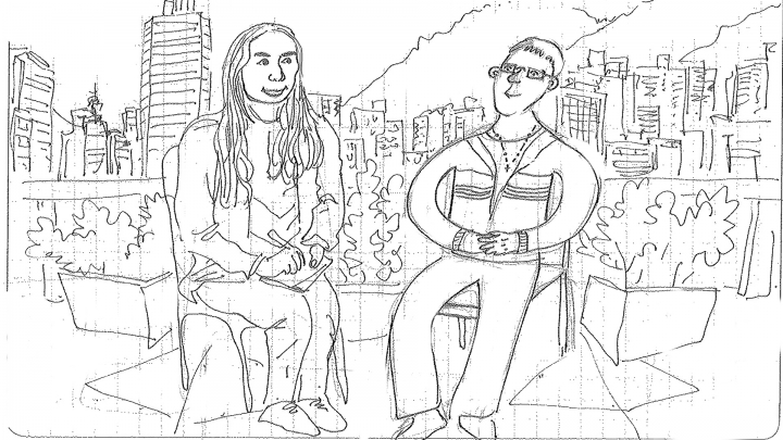 Dibujo de Gusanillo y Camila Pulido en la Biblioteca Pública El Tunal