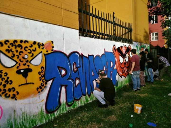 Los jóvenes decidieron pintar los murales que rodean la huerta