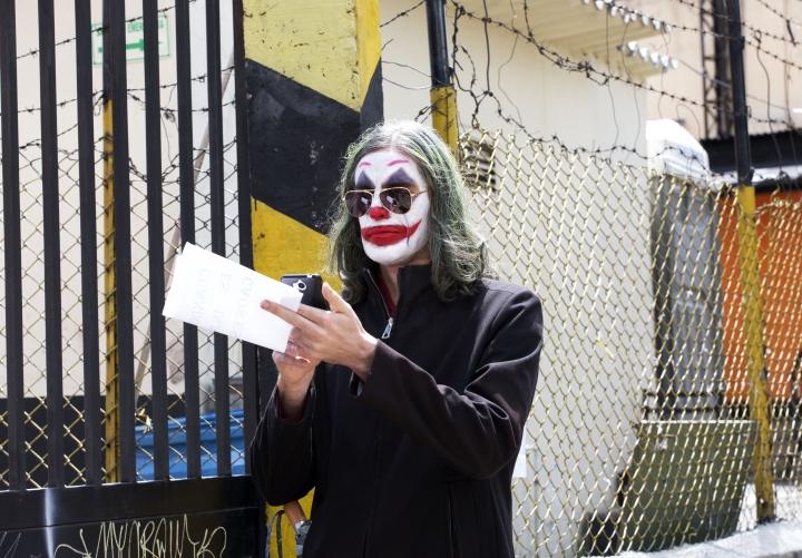 Imagen del Joker en una marcha del 21N