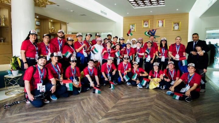 La delegación colombiana de Special Olympics en los Emiratos Árabes Unidos, país anfitrión de los juegos mundiales celebrados el pasado mes de marzo.