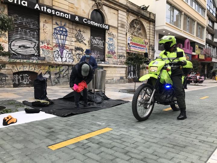 Policía de Bogotá en la carrera Séptima