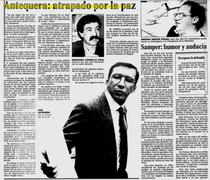 Artículo de periodico de 1989 sobre el asesinato de José Antequera