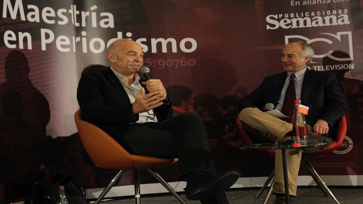 De izquieda a derecha: Martín Caparrós y Aurelio Iragorri. Crédito foto: Juliana Valenzuela