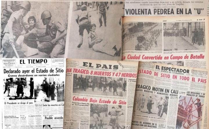 Titulares de la masacre del 26 de febrero de 1971 en la Universidad del Valle