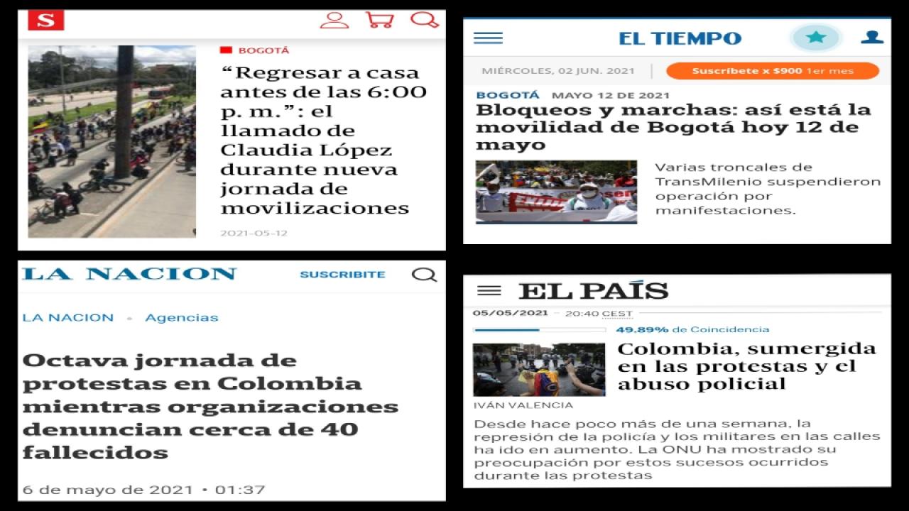 El cubrimiento periodístico del Paro Nacional en Colombia: los medios nacionales Vs los medios internacionales
