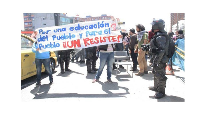 Protesta del 27 de abril en la Universidad Nacional contra el PND.