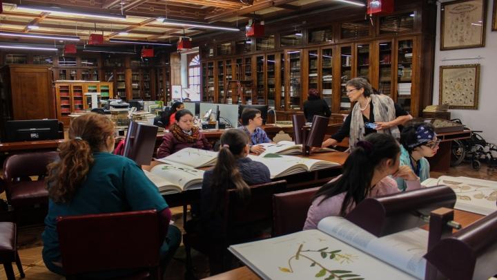 En la clase de expedición botánica los estudiantes, aprenden sobre turismo accesible e incluyente aprovechando los espacios patrimoniales del claustro de la Universidad del Rosario