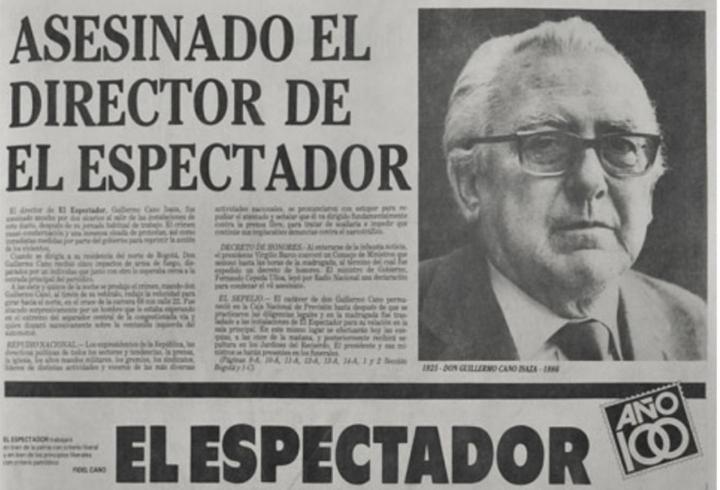 Portada de El Espectador al día siguiente del asesinato a Guillermo Cano, su director