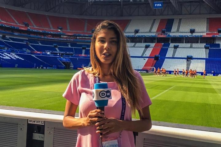 Julieth cubriendo la Copa Mundial Femenina de la FIFA Francia 2019
