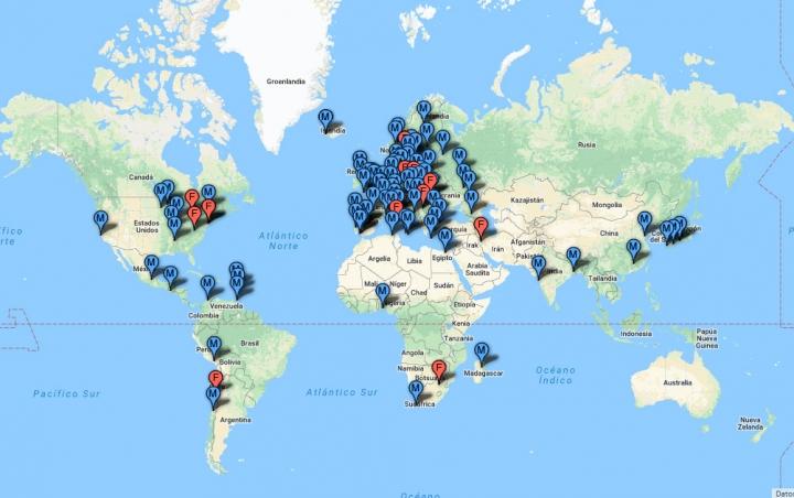 Mapa de los premios Nobel de Literatura