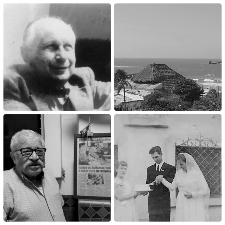 En la parte superior izquierda se encuentra Jorge Bobrek, al lado derecho superior esta Puerto Colombia, en la parte inferior izquierda esta Pierino Romani y a la inferior derecha Herbert Faber y Vera Lehnnert.