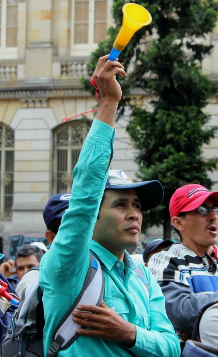Los asistentes a la protesta se mostraron inconformes con el precio actual del café, Foto: Laura Lucía González