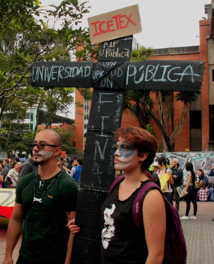 El endeudamiento por los créditos del Icetex era una de las principales razones de la protesta. Foto: Jessica Zapata
