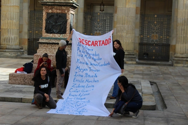 Pancarta con algunos nombres de líderes y lideresas asesinados. Crédito foto: Gabriela Ortiz.