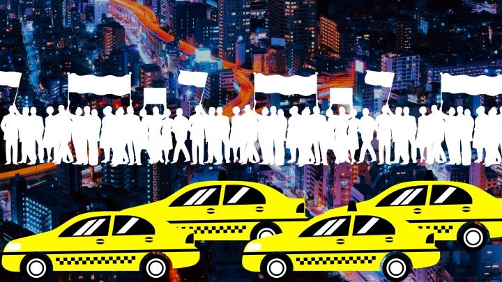 Ilustración paro de taxistas