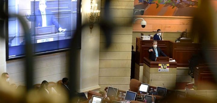 Carlos Holmes Trujillo en la Cámara de Representantes en su primera moción de censura el pasado 7 de octubre.