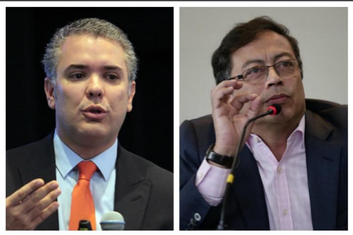 Los candidatos presidenciales encabezan las encuestas.  Fotos:Twitter @IvanDuque y @PetroGustavo