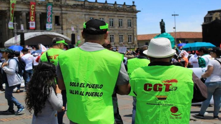 Miembros de la Confederación General del Trabajo durante la marcha del 1 de Mayo