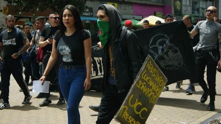 Estudiantes de la Universidad Cooperativa de Colombia marchan
