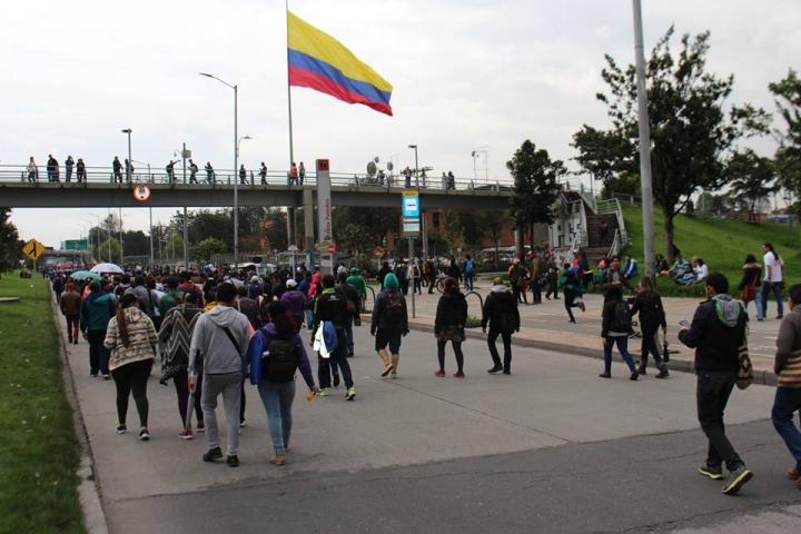 Marcha de maestros en Bogotá