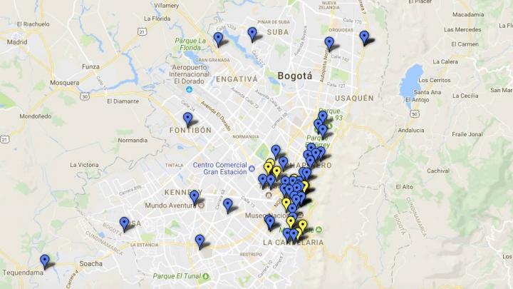 Mapeo de colectivos feministas en Bogotá filtrado por fechas. Crédito: Google Fusion Tables.