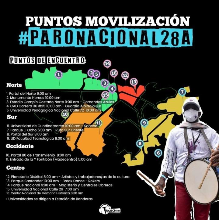 Puntos de Movilización en Bogotá