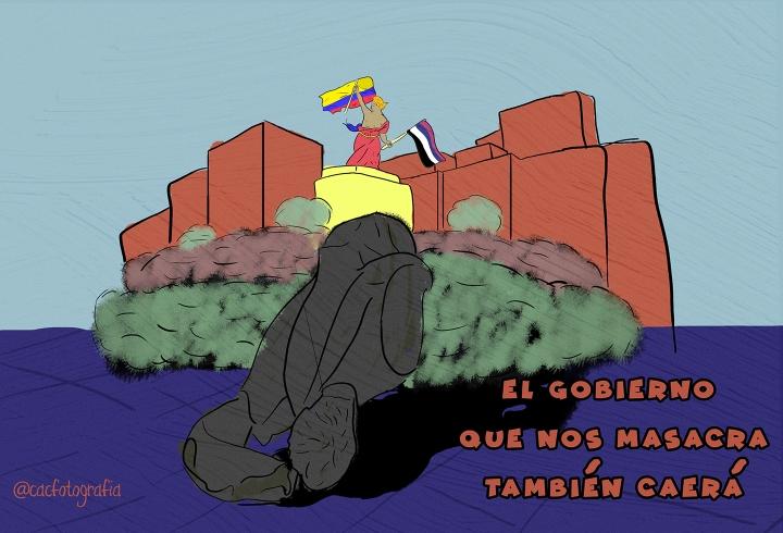 Viñeta sobre la estatua derribada en la Plazoleta del Rosario