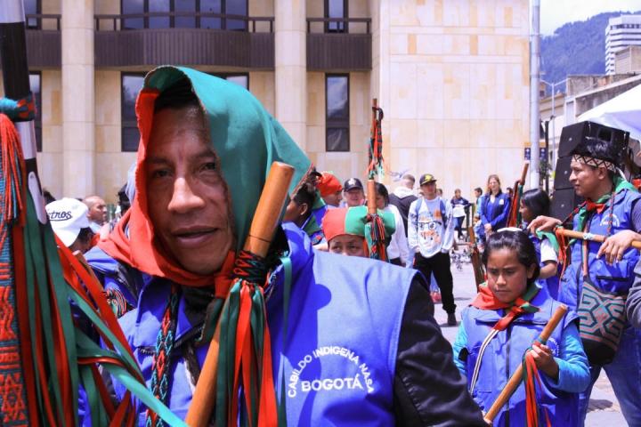 Diferentes comunidades indígenas se reunieron en la Plaza de Bolivar. Foto: María Paula Parada