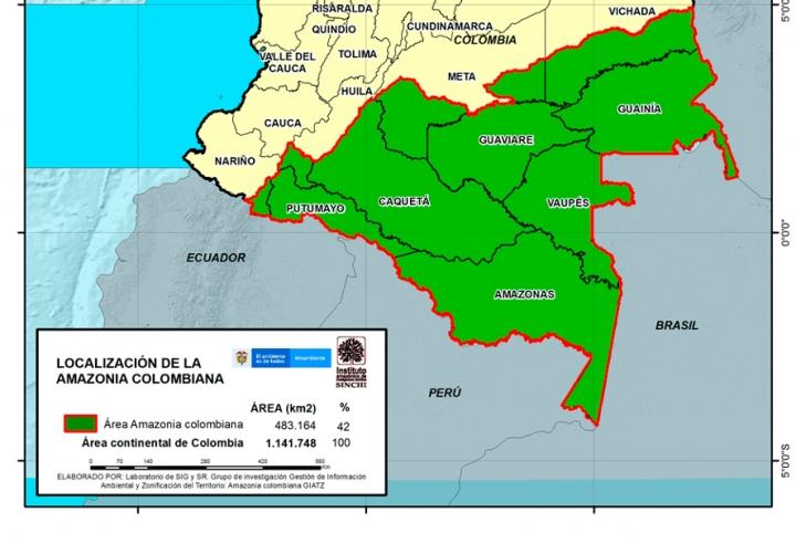 Mapa de la Amazonía colombiana: región geográfica que abarca los departamentos del Amazonas, Caquetá, Putumayo, Guainía, Guaviare y Vaupés; e incluyen parcialmente al Cauca, Meta y Vichada