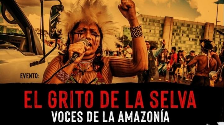 """Panfleto del evento virtual """"El grito de la selva: voces de la Amazonía"""""""