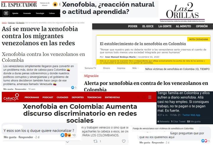 Titulares, tweets y comentarios xenofóbicos.