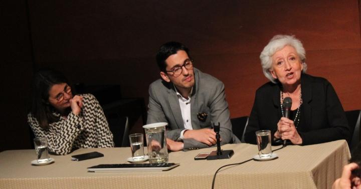 Los curadores de izquierda a derecha: Nimfa Bisbe, Nicolás Gómez y Nydia Gutiérrez. Foto por:  Luz Mariana Rojas Zawadzky