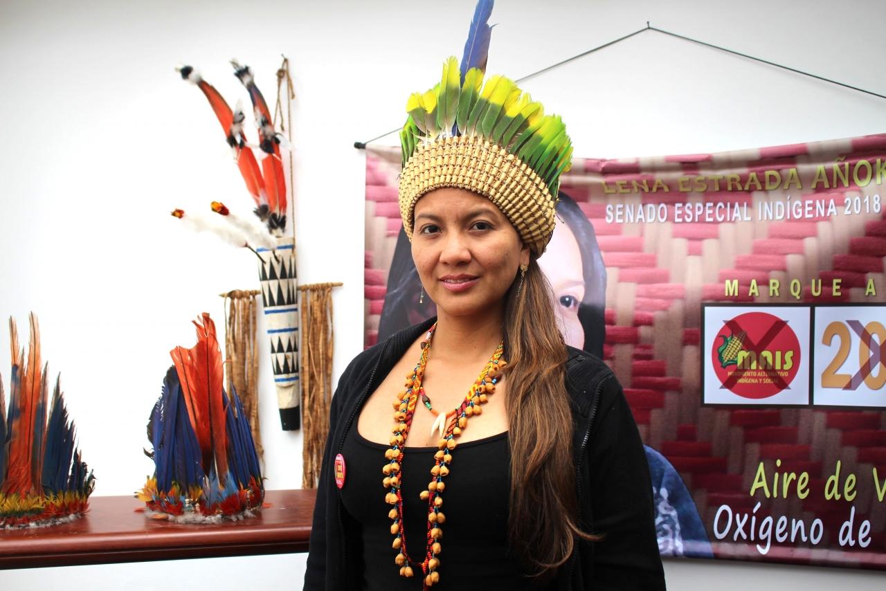Lena Estrada, la primera mujer indígena Uiototo candidata al Senado