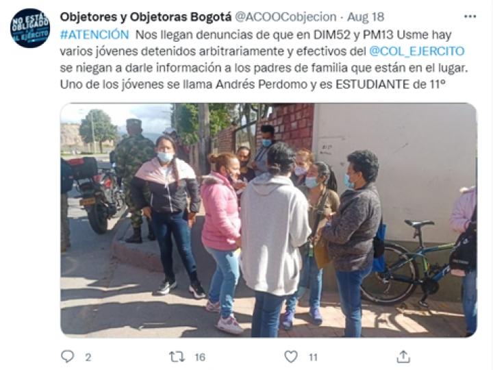 Denuncia pública sobre batida irregular, Twitter @ACOOCobjecion