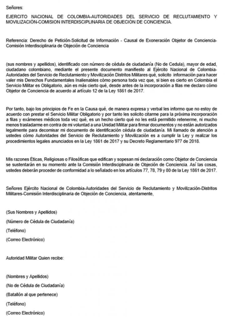 Plantilla del documento de objeción de conciencia, Defina Legal SAS