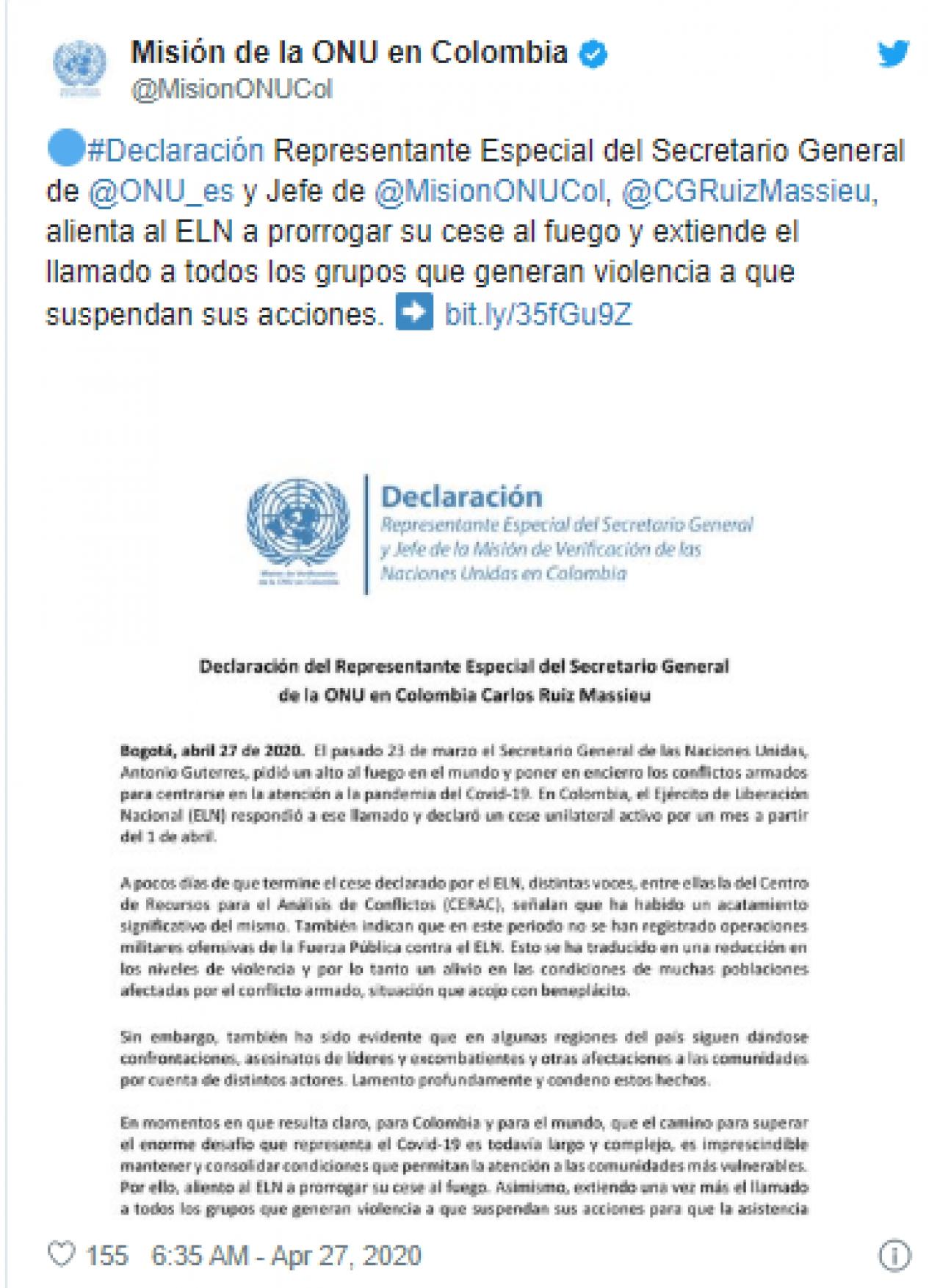El ELN da por terminado el cese al fuego en Colombia
