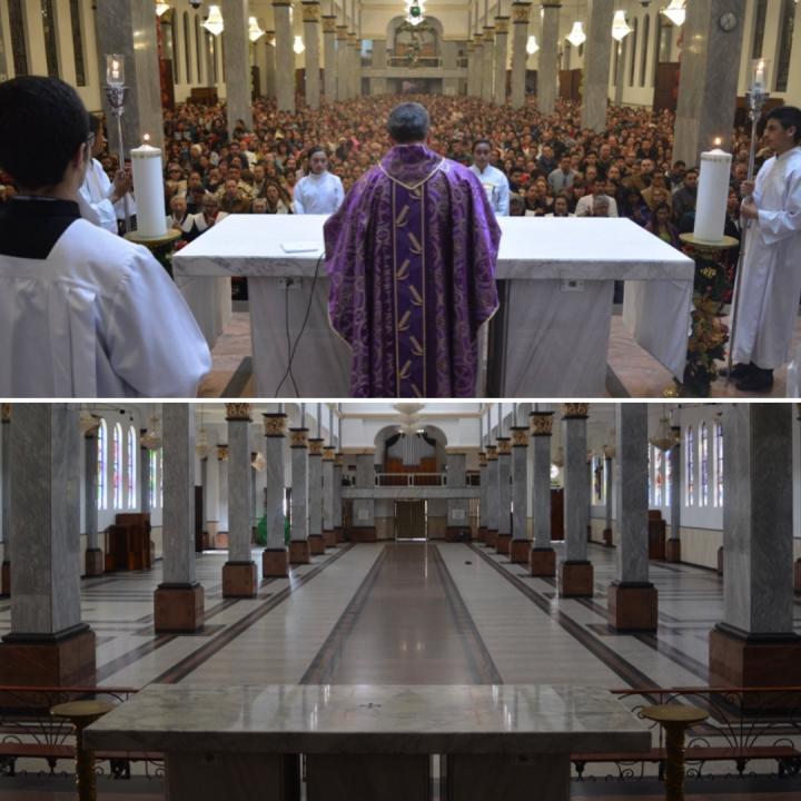 Imagen comparativa del templo de la iglesia del 20 de Julio en los años 2018 y 2020