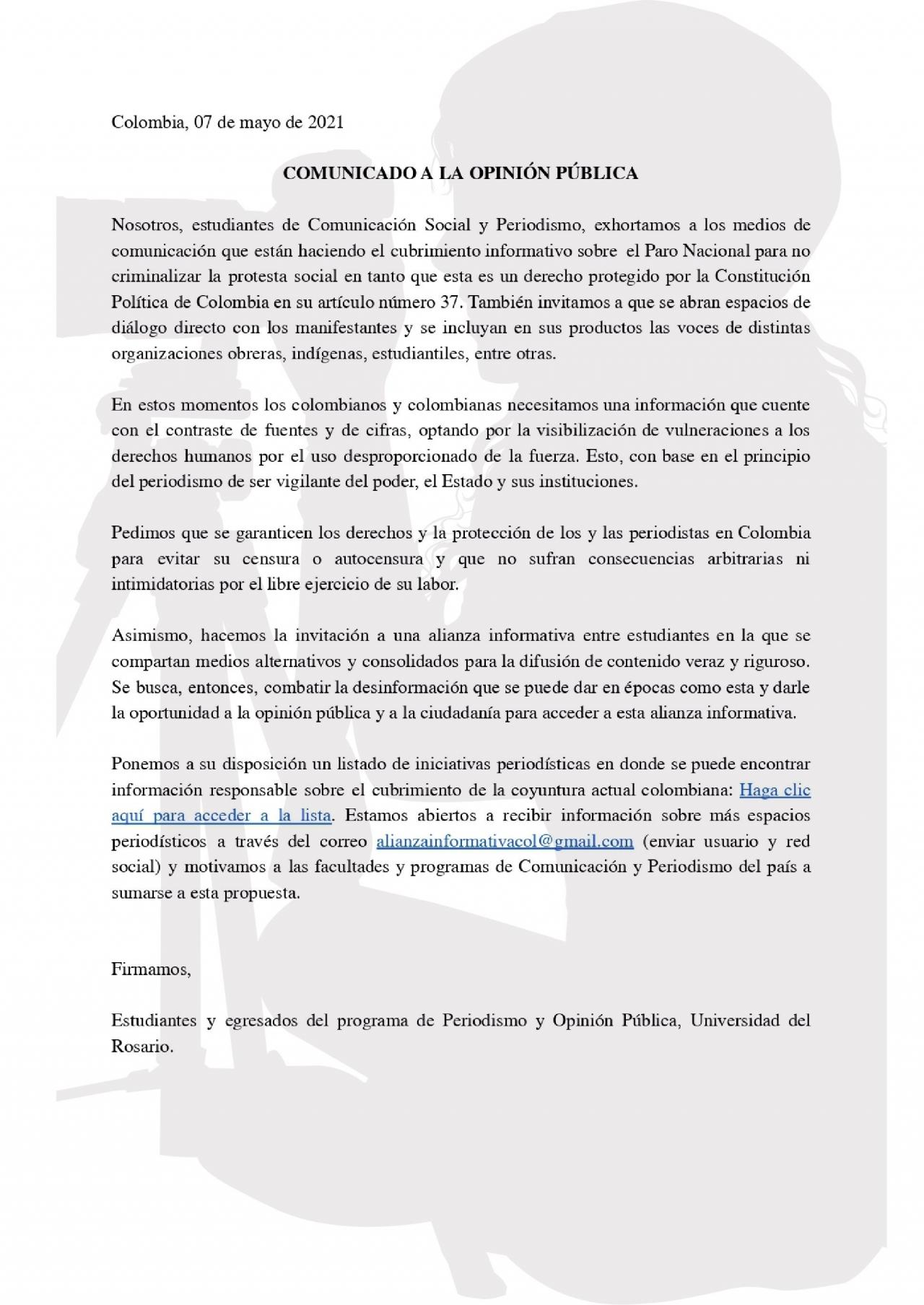 Comunicado a la opinión pública de estudiantes y egresados de Periodismo de la Universidad del Rosario