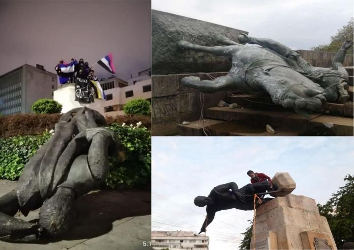 Desde septiembre del 2020, grupos indígenas han tumbado estatuas de conquistadores como símbolo de su manifestación.