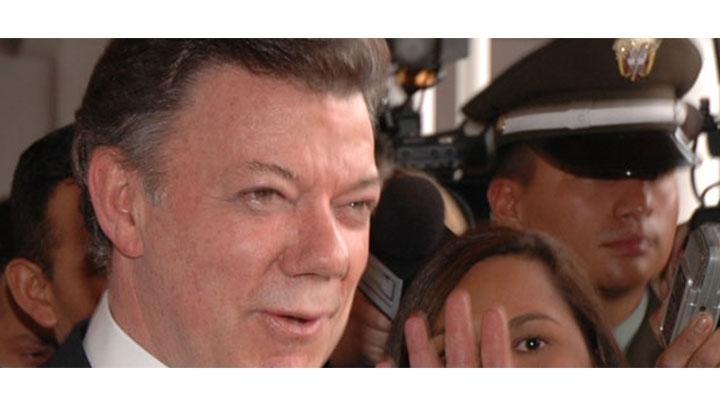 El presidente Santos durante un evento en la Universidad del Rosario.